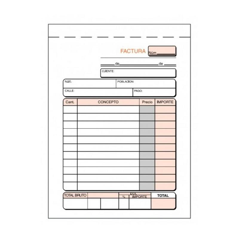 Talonario de facturas T46 8º natural sin copia