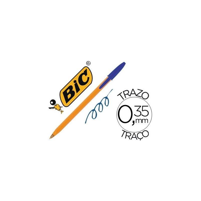 Boligrafo bic naranja azul fino