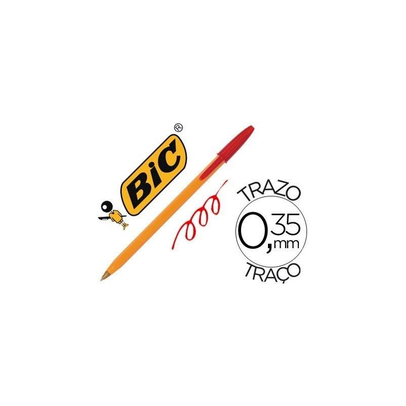 Boligrafo bic naranja rojo fino