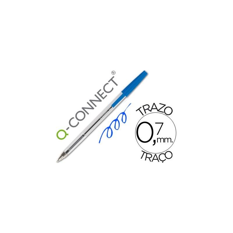 Boligrafo Q-connect azul transparente