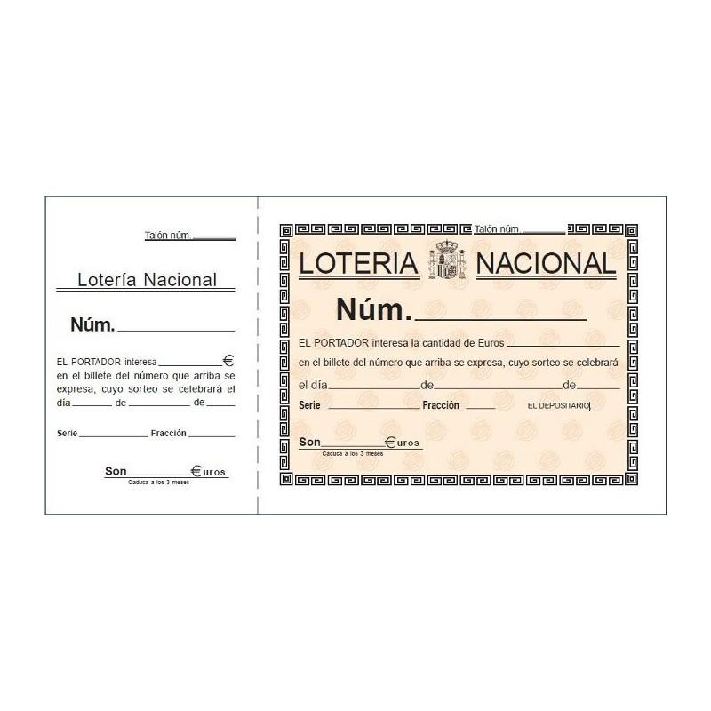 LOAN TALONARIO T15 -LOTERIA- 1/3 FOLIO 2 TINTAS